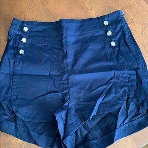 High waisted navy blue shorts